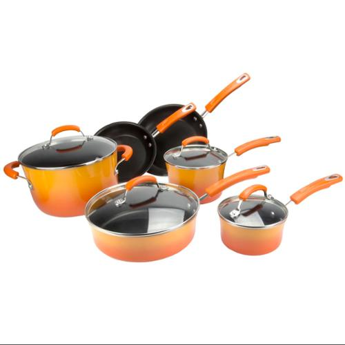 Rachael Ray 10-Piece Kitchen NonStick Hard Enamel Cookware Set Pots Pans -Orange