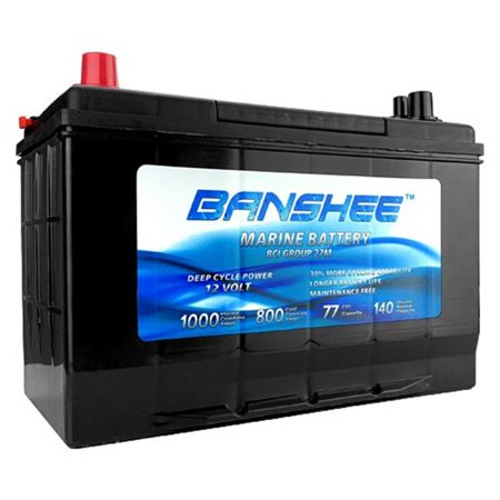 Banshee 27M-Banshee-01 12V 77Ah Deep Cycle Marine Battery for Replacement Optima D27M - Group Size 27 Marine Deep Cycle