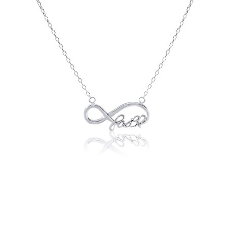 Infinity Loop FAITH Design Cable Chain Necklace in Sterling SIlver - Faith Necklace