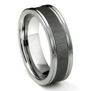 Titanium Kay Tungsten Carbide Black Ceramic Inlay Wedding Band Ring with Horizontal Satin Finish Sz 10.0
