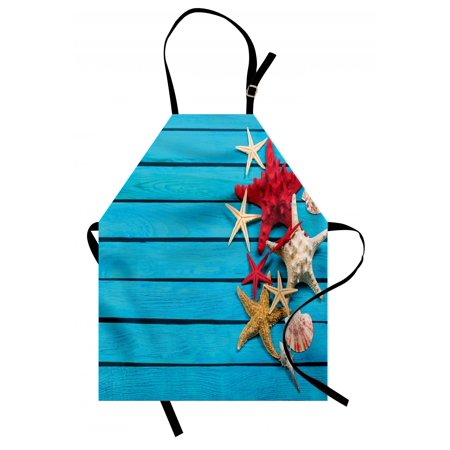 Starfish Apron Different Types of Starfishes and Scallops on Blue Painted Wooden Planks Image, Unisex Kitchen Bib Apron with Adjustable Neck for Cooking Baking Gardening, Multicolor, by Ambesonne - Bake On Paint
