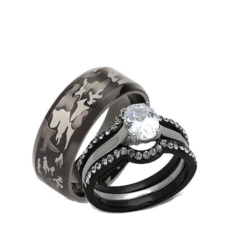 His Hers 4 Piece Black Stainless Steel Camouflage Matching Wedding Band Ring Set