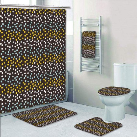 EREHome Galaxy Stars Like Polka Dots Circles Rounds in a Row 5 Piece Bathroom Set Shower Curtain Bath Towel Bath Rug Contour Mat and Toilet Lid Cover - image 1 of 2