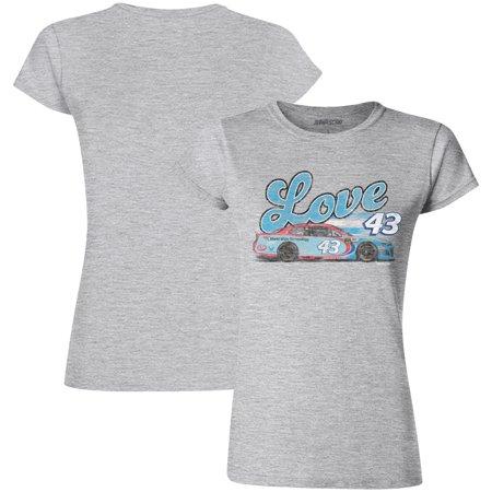 Bubba Wallace Checkered Flag Women's Love Car T-Shirt - Gray - Gray Car Flag