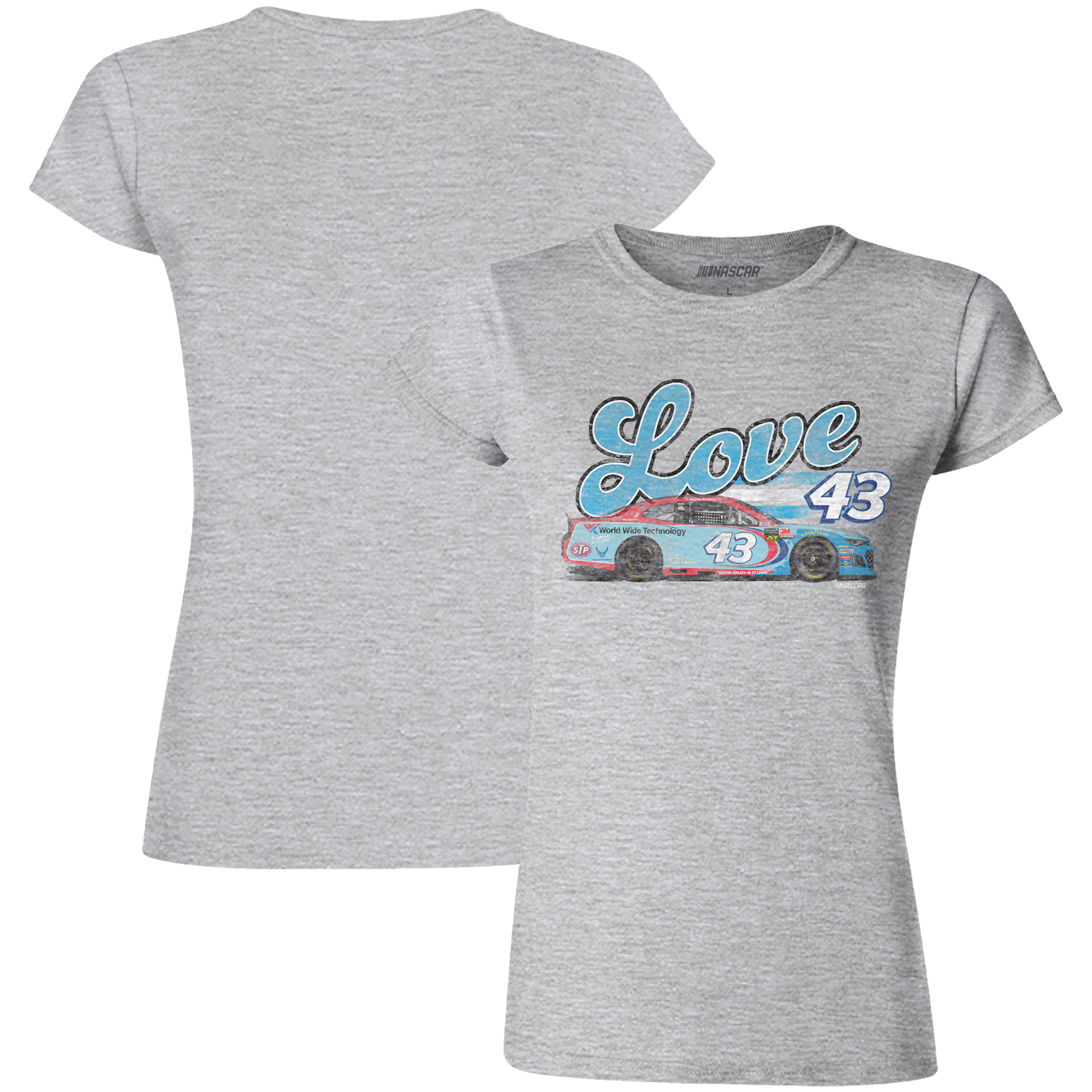 Bubba Wallace Checkered Flag Women's Love Car T-Shirt - Gray