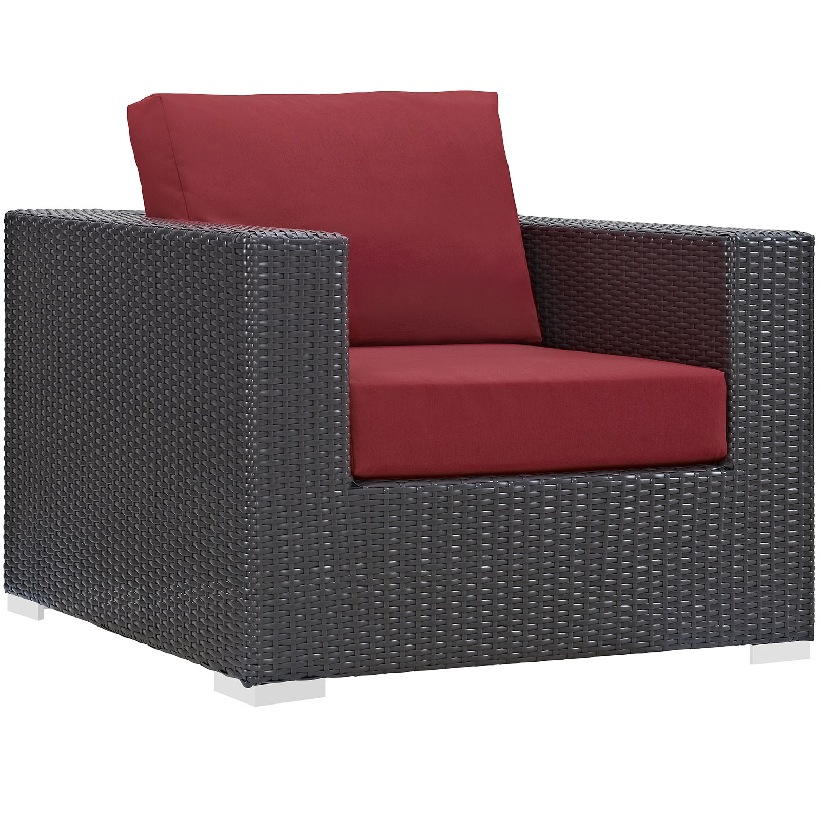 Modern Contemporary Urban Design Outdoor Patio Balcony Lounge Chair, Red, Rattan