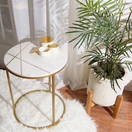Aurora Home  Piers Inlay Round Marble Side Table - 18