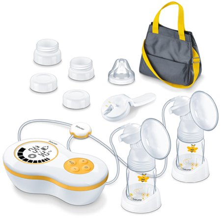 Beurer Electric Dual Breast Pump, Double Comfortable Pumping, Portable Strong Suction and Tote Travel Bag for Moms, (Best Portable Electric Breast Pump)