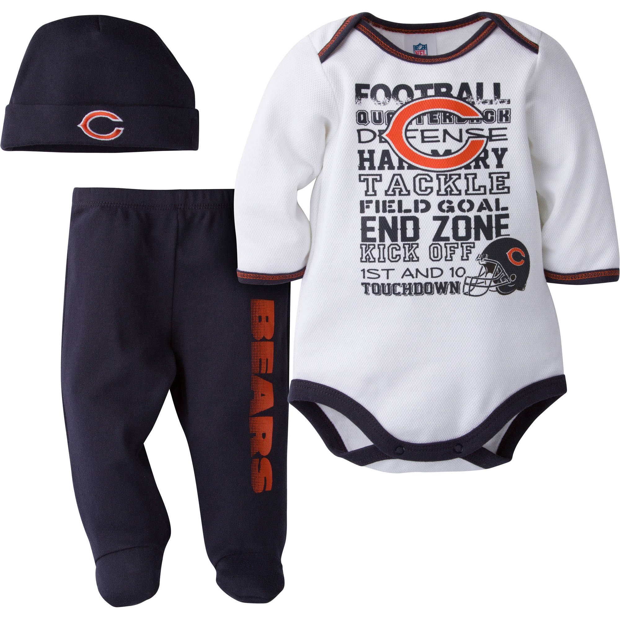 NFL Chicago Bears Baby Boys Bodysuit, Pant and Cap Outfit Set, 3-Piece