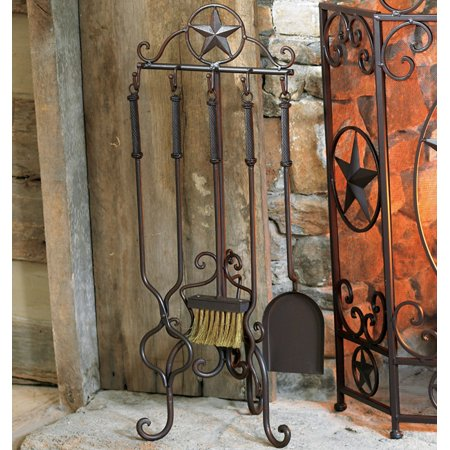 Lone star western fireplace tool set 5 pcs western for Lone star home decor