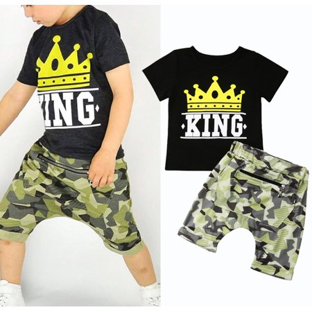 Summer Toddler Kids Baby Boy Tops T-shirt Camo Pants 2Pc Outfits Set Clothes 1-2Years