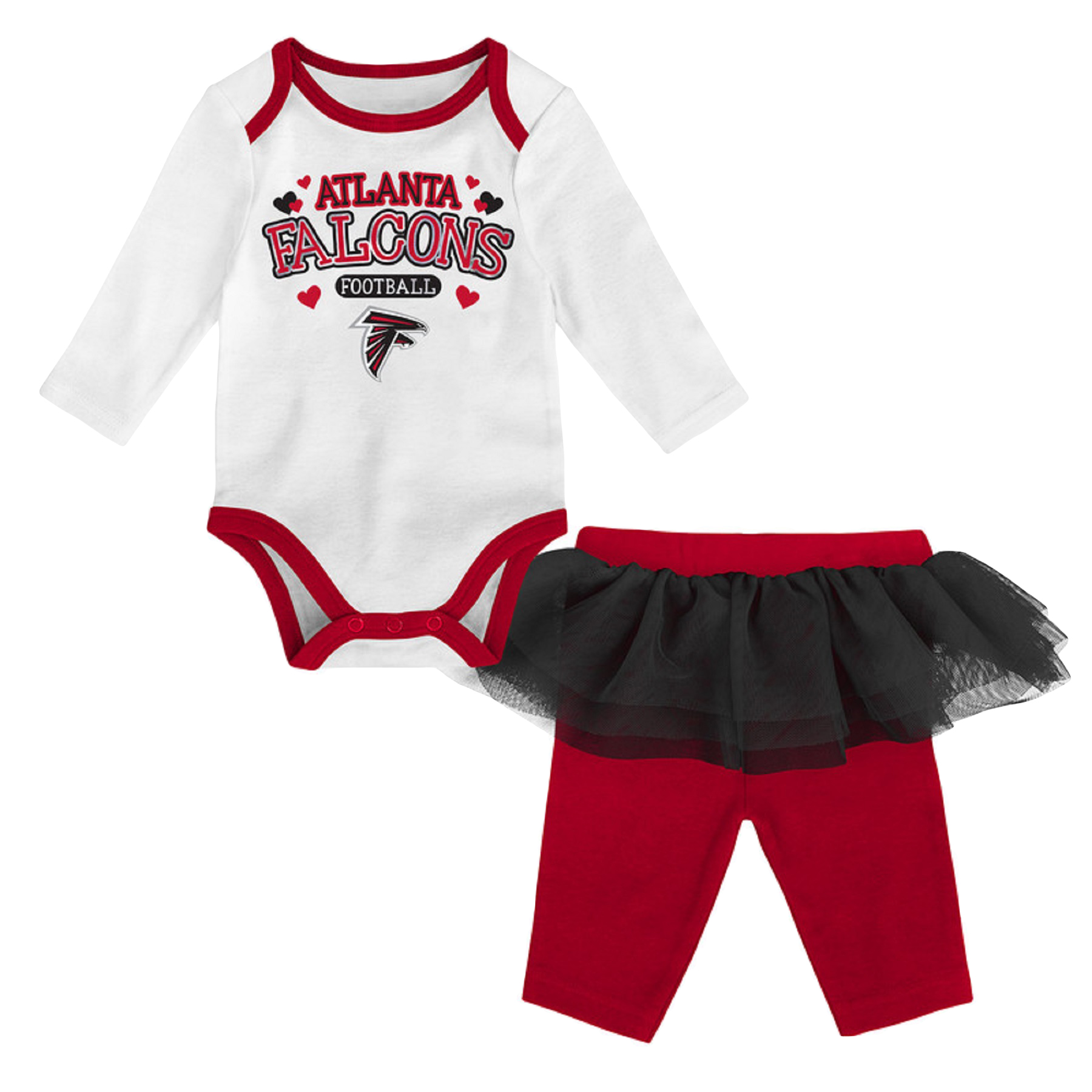Girls Newborn & Infant White/Red Atlanta Falcons Tulle Long Sleeve Bodysuit & Pants Set