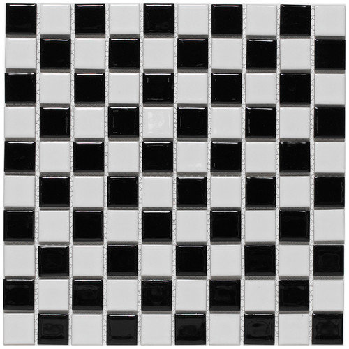 EliteTile Checker 11-1/2'' x 11-1/2'' Glazed Porcelain Mosaic in White and Black