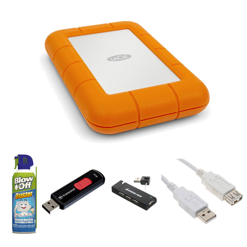 LaCie 301558 Rugged Mini USB 3.0/2.0 1TB External Hard Drive in Orange + 4GB JetFlash 500 USB 2.0 Flash Drive + Accessory Kit