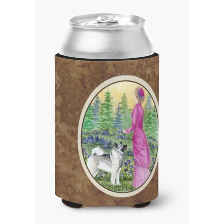 Lady with her Norwegian Elkhound Ultra Beverage Insulators for slim cans SS8154MUK