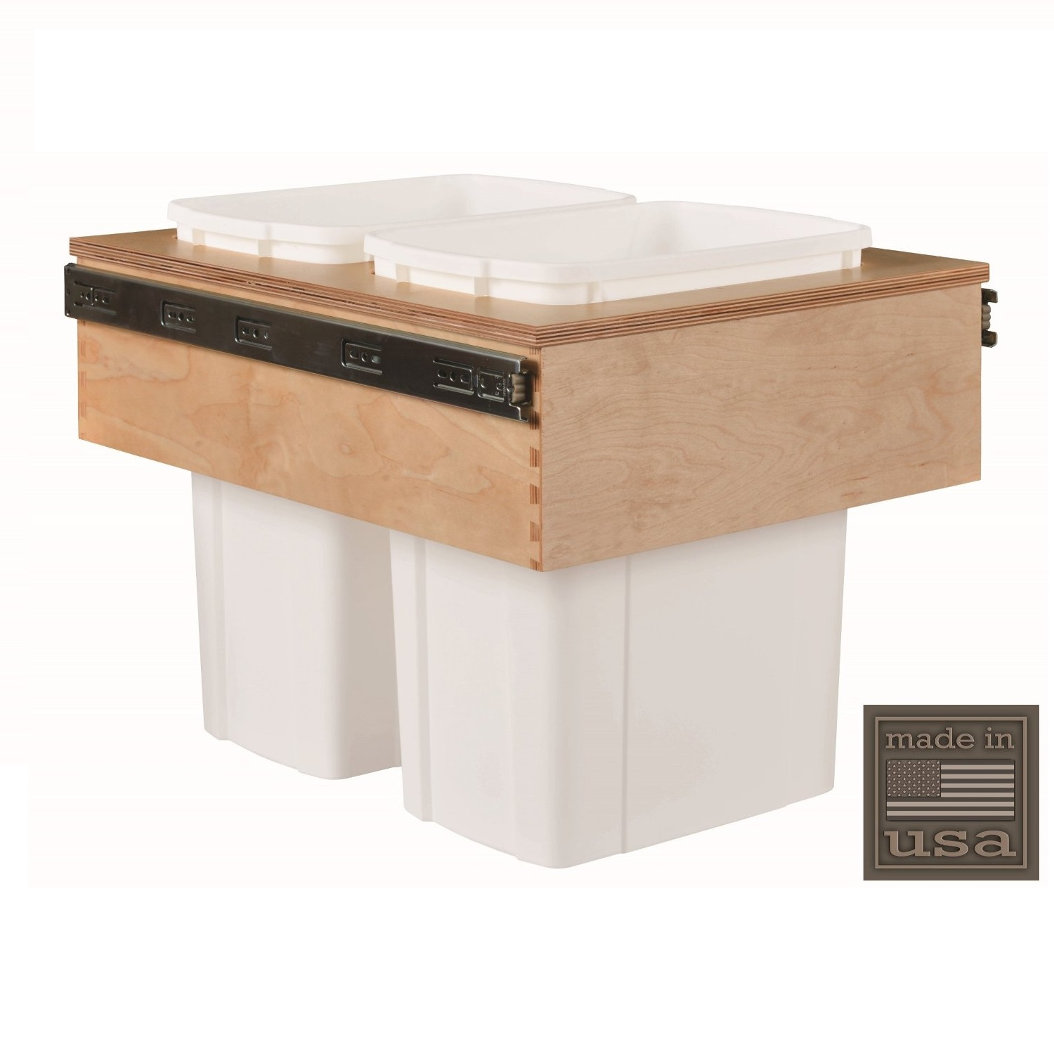 """Century Components CASTM17PF Kitchen Pull Out Waste Bin Container - 34 Qt White Double - Baltic Birch - Top Mount, 18"""""""