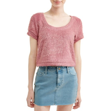 Knit Short Sleeve Sweater (Juniors' Eyelash Knit Short Sleeve Sweater )