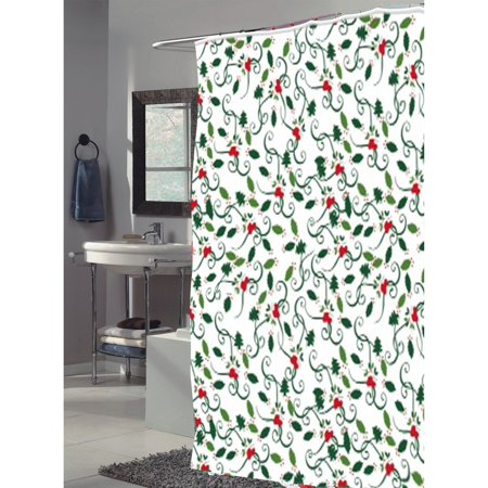 Carnation Home Fashions Deck the Halls Christmas Tree Fabric Shower Curtain