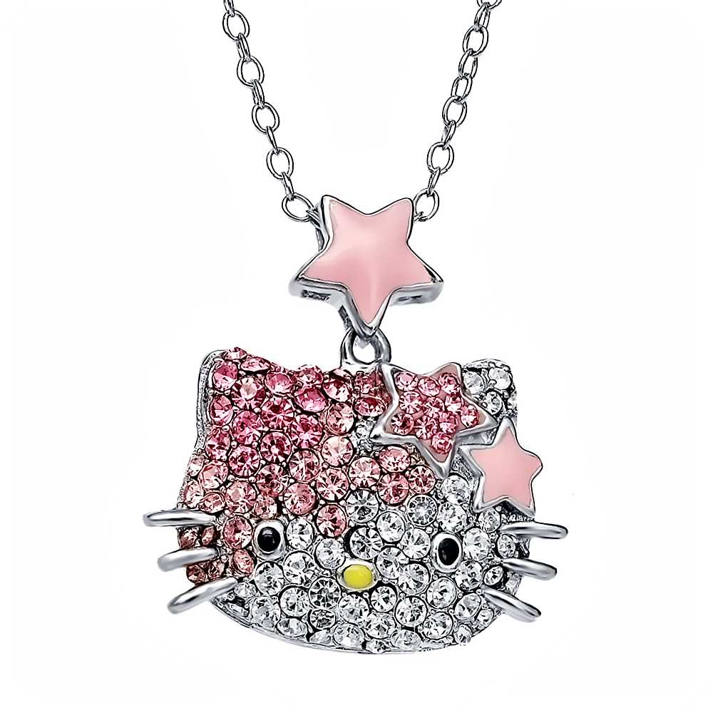 Hello Kitty Crystal Ombre Necklace with Star Bow & Star Accents