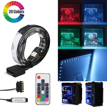 Magnetic RGB LED Strip, EEEKit Multi-Color Computer Case Magnetic LED Strip Light with Remove Control for Computer Case, Desktop, PC, Mid Tower Case ()