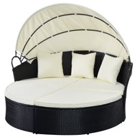Outdoor Patio Wicker Rattan Sofa Round Bed Furniture w/ Canopy Cushion