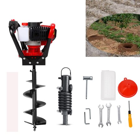 Gas Post Hole Digger Set 56cc 2 Stroke One Man Post Hole Digger