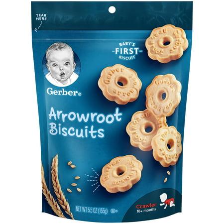 Gerber Arrowroot Cookies, 5.5 oz. (Pack of 4) Baby Boy Baked Cookies