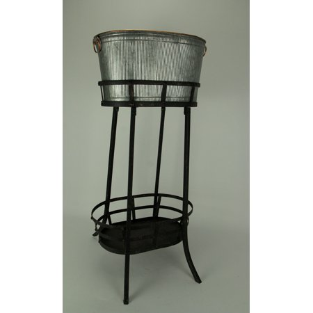 Antiqued Ribbed Metal Flowers and Garden Decorative Ice Tub On Stand - image 1 of 3