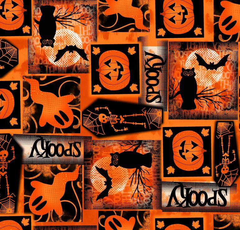 FABRIC EDITIONS, COTTON FABRIC, FAT QUARTER, 18X21, HALLOWEEN SPOOKY SQUARES
