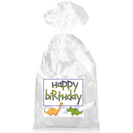 Happy Birthday Dinosaurs  Party Favor Bags with Ties - 12pack