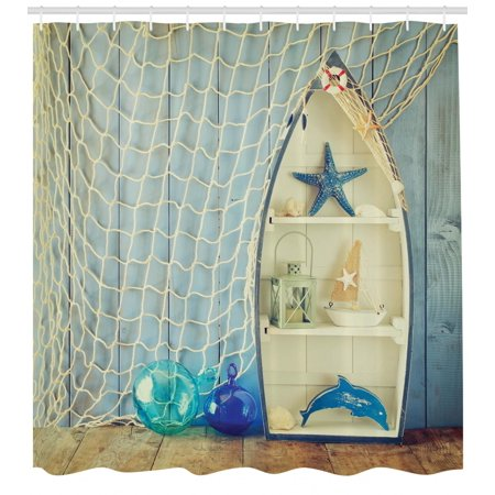 Nautical Shower Curtain Boat Standing Against The Wall Other Aquatic Objects Sea Featured Picture