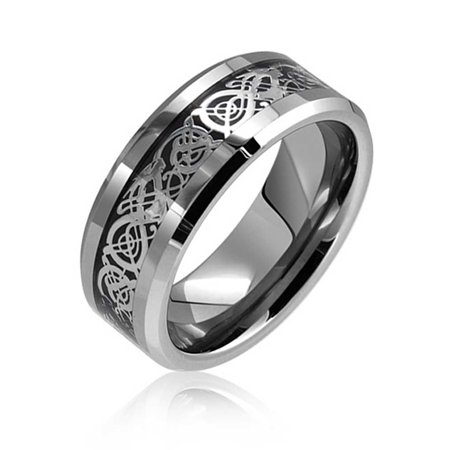 Two Tone Black Silver Celtic Knot Dragon Inlay Couples Wedding Band TungstenRingsForMen For Women Comfort Fit 8mm