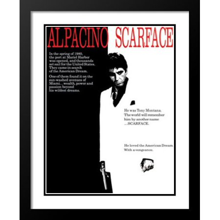 FrameToWall - Scarface Movie Poster 28x40 Framed and Double Matted Art Print.