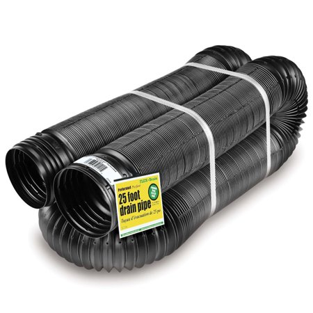 18 Inch Drain Pipe - Perforated Corrugated Expandable Flexible Drain Pipe, 4-Inch x 25-Foot