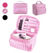 Large Travel Makeup Bag Organizer - Foldable Waterproof Cosmetics Train Case Toiletry Bags for Women - Multifunction Case Beauty Storage Bag with Handle, Mirror & Make Up Brush Holders Gifts for Women
