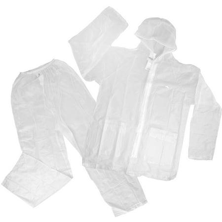 High Sierra 2pc Waterproof Emergency Clear Vinyl Rain Suit, Bottom + Drawstring Hooded Jacket Top With Pockets, Unisex For Women Men (Top 10 Mens Suits)