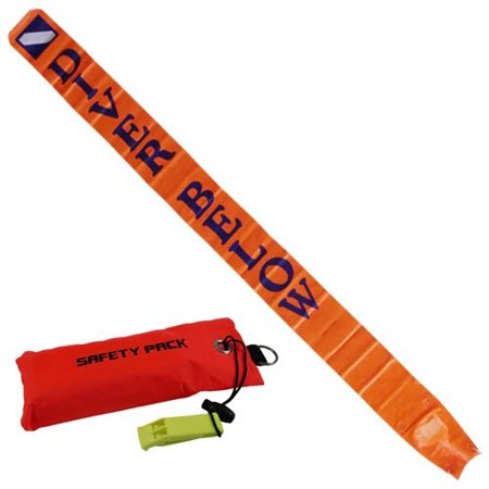 Scuba Choice Diver Below 6ft Surface Marker with Pouch & Whistle