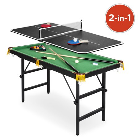 Best Choice Products Kids 4ft Portable 2-in-1 Ping Pong and Pool Combination Arcade Game Table Set w/ Foldable Legs, 15 Billiard Balls, 2 Cue Sticks, Triangle, 2 Paddles, 1 Ball, Net - (Model With Best Legs)