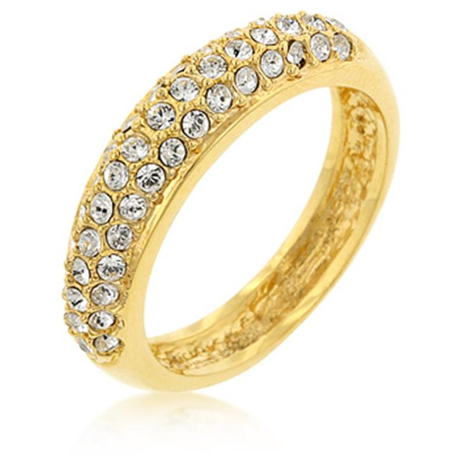 Kate Bissett R06028G-C02-10 18k Gold Plated Pave Crystal Contemporary Ring in Silvertone - Size 10