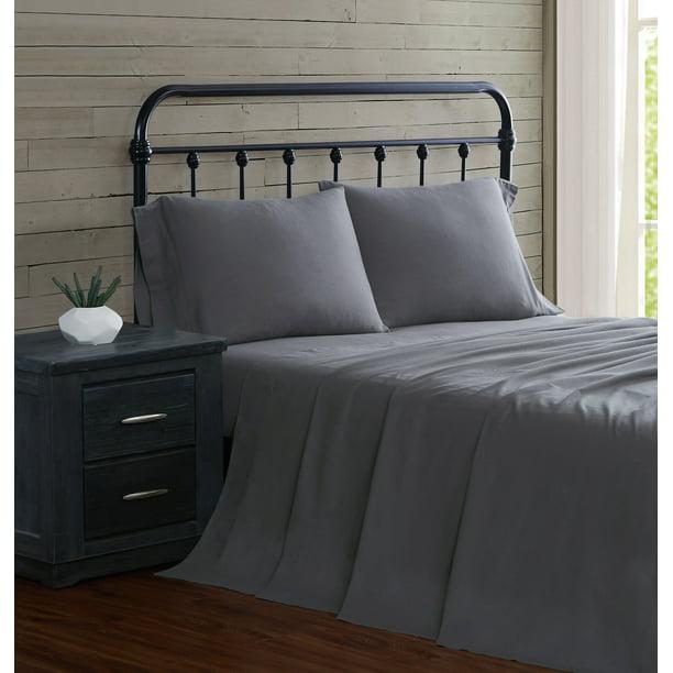 London Fog Grey Cotton Flannel 4 Piece Queen Sheet Set Walmart Com Walmart Com