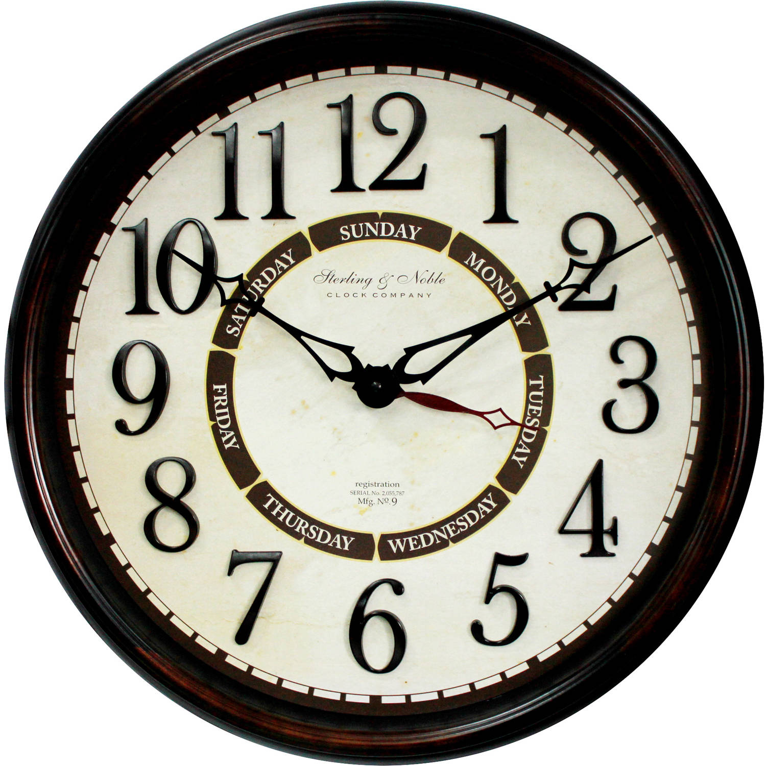 "Better Homes & Gardens 20"" Calendar Wall Clock"