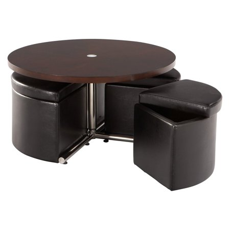 Standard Furniture Cosmo Adjule Height Round Wood Top Coffee Table With 4 Storage Ottomans
