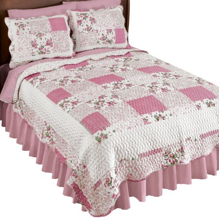 Hadley Floral Patchwork Reversible Lightweight Quilt, Twin, Rose (Floral Plaid Quilt)