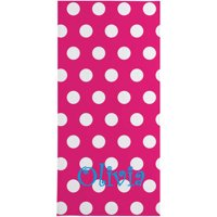 Personalized Polka Dot Beach Towel, Available with Name or Initial and 4 Color Options