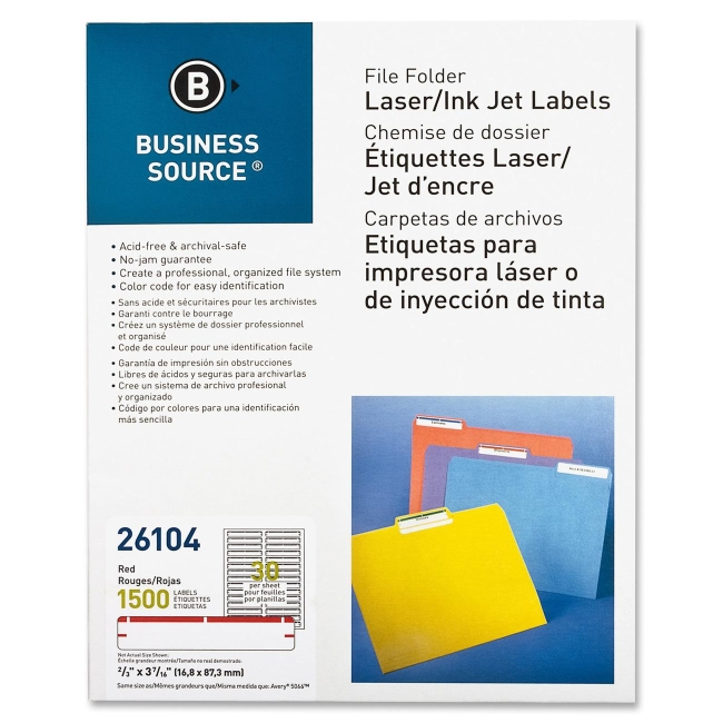 "Business Source Laser/Inkjet File Folder Labels - Permanent Adhesive - 0.66"" Width x 3.43"" Length - 30 / Sheet - Rectangle - Laser, Inkjet - Red - Paper - 50 Sheet"