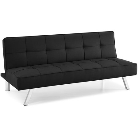 Hawthorne Collections Tufted Convertible Sleeper Sofa in Black