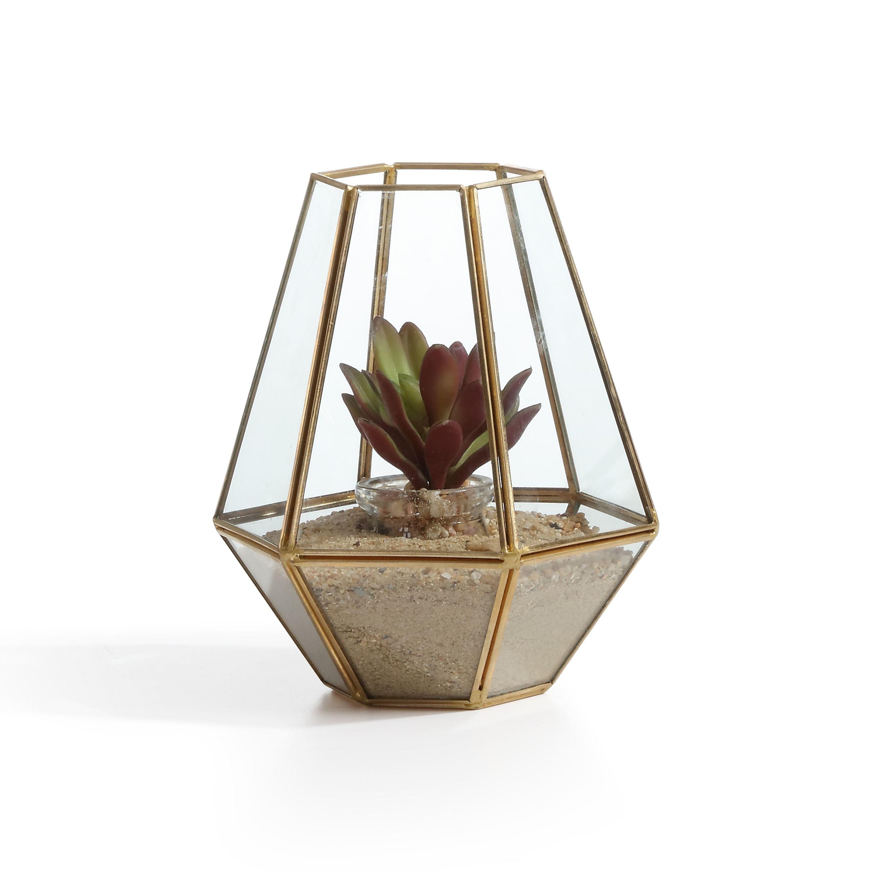 Danya B. Diamond Shape Brass and Glass Terrarium