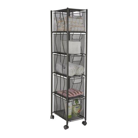 - Mind Reader 5 Drawer Cart, Rolling Mesh Office Cart, Metal Storage, Drawers, File Storage Cart, Utility Cart, Office Storage, Heavy Duty Multi-Purpose Cart, Black
