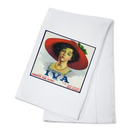 Charter Oak  California   Iva Brand Citrus Label  100  Cotton Kitchen Towel