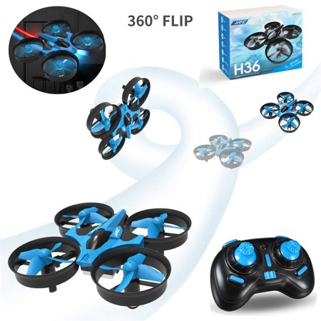 JJRC H36 LED 360° 3D Flips Mini Drone RC Nano Quadcopter Propellers for Kids Adult Beginners RC Helicopter Plane 2.4GHz 4CH  6 Axis Gyro Auto Hovering Headless ModeToy Gift